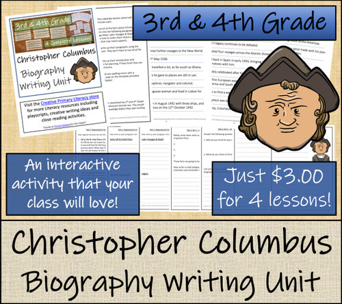 Christopher Columbus - 3rd & 4th Grade Biography Writing Activity