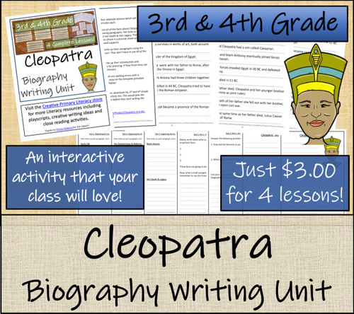 Cleopatra - 3rd & 4th Grade Biography Writing Activity