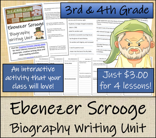 Ebenezer Scrooge - 3rd & 4th Grade Biography Writing Activity