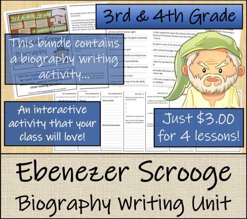 Ebenezer Scrooge - 3rd & 4th Grade Close Read & Biography Writing Bundle