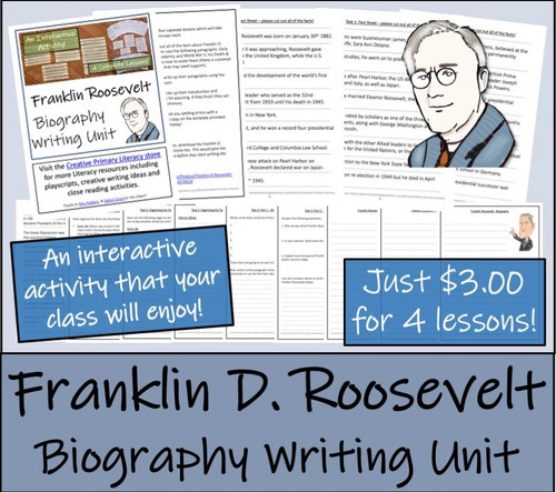 Franklin Roosevelt - 3rd & 4th Grade Biography Writing Activity