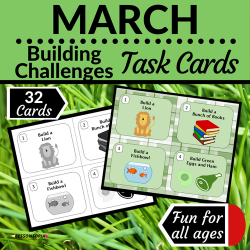 March Building Challenges Task Cards