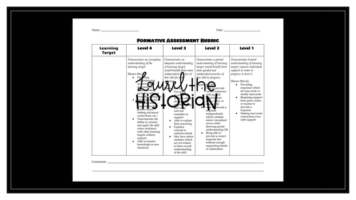 Standards-based learning rubric for formative assessments