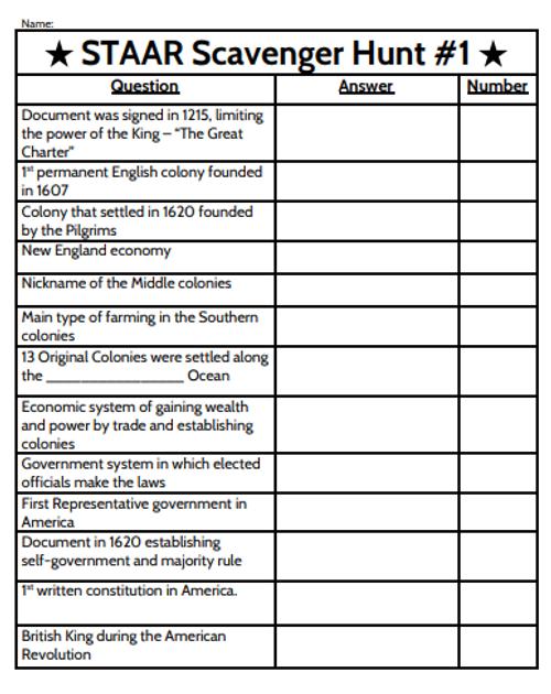 8th Grade Social Studies STAAR Scavenger Hunt - Exploration Through Constitution