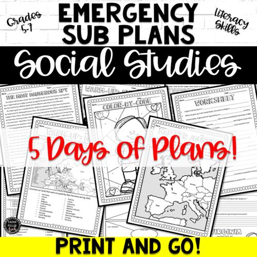 Emergency Sub Plans for Social Studies (Grades 5-7)