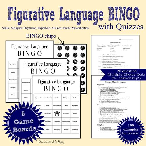Figurative Language BINGO and Quiz