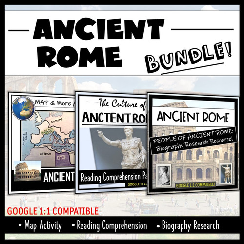 Ancient Rome Map Activity, Reading Comprehension, and Bio's Research (Student- Centered!)
