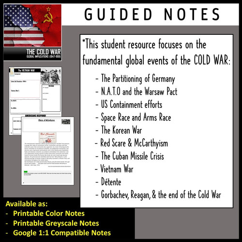 Cold War Unit Bundle! (Guided Notes, Teacher Guide, Test, Prezi: US History)