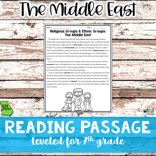 Religions and Ethnic Groups in Middle East Reading Packet (SS7G8a)
