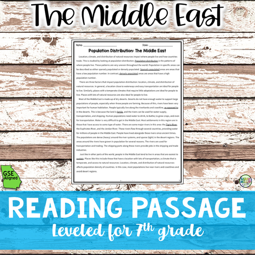 Population Patterns in the Middle East Reading Packet (SS7G7a)