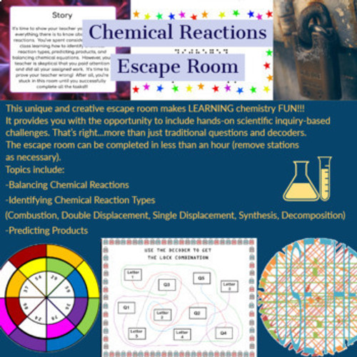 Chemical Reactions (Predicting Products, Balancing, Reaction Types) Chemistry Escape Room