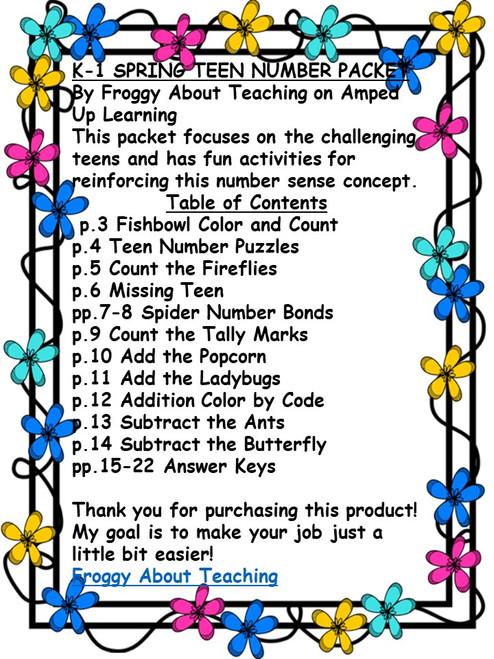 K-1 Spring Teen Number Activities
