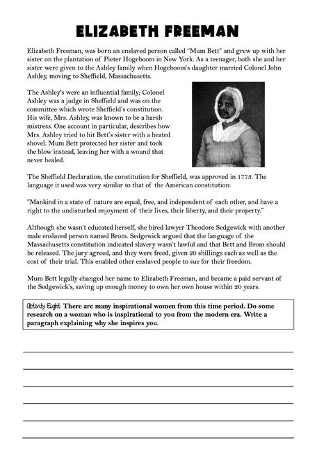 Freebie Elizabeth Freeman Sample from Abolitionist Workbook