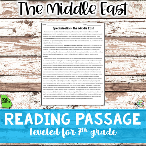 Specialization in Southwest Asia Reading Packet (SS7E5a)