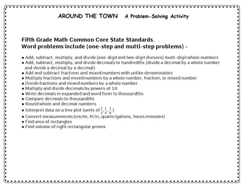 5th Grade Math Test Prep - Problem-Solving Activity - Decimals, Fractions, Whole Numbers, Many Common Core Standards