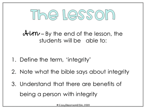 Integrity, A Sunday School Lesson - FREE
