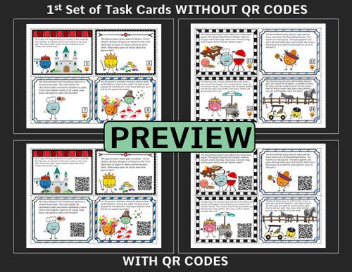 2nd Grade Math Game -  Word Problems  with QR Codes - Addition and Subtraction 2-digit Numbers, Time, and Money