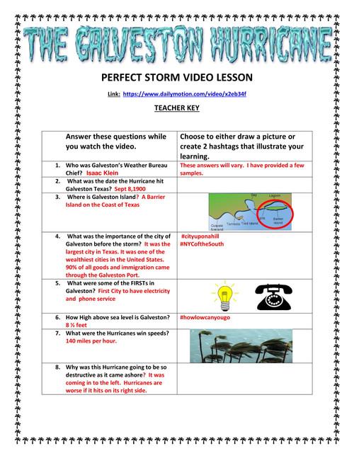 The Galveston Hurricane of 1900 Video Lesson - GOOGLE DOC