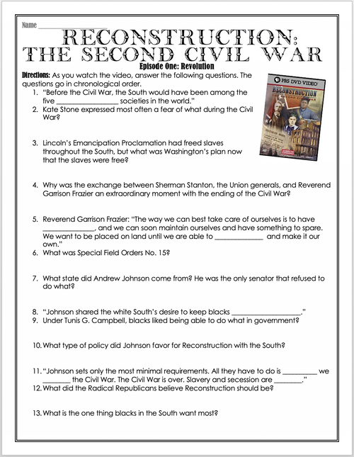 Reconstruction: The Second Civil War - Episode 1 - Movie Guide - Distance Learning
