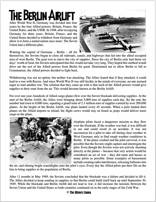 The Berlin Airlift Reading WS