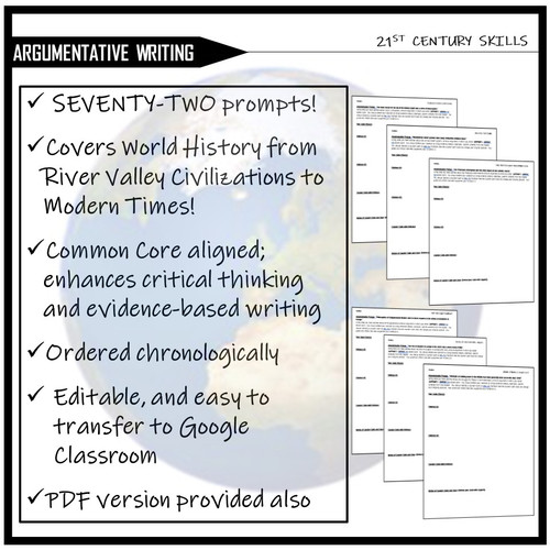 Argumentative Writing Prompts- WORLD HISTORY (Evidence-Based Writing)