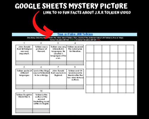 J.R.R. Tolkien Activity Packet  & Self checking  Mystery Picture
