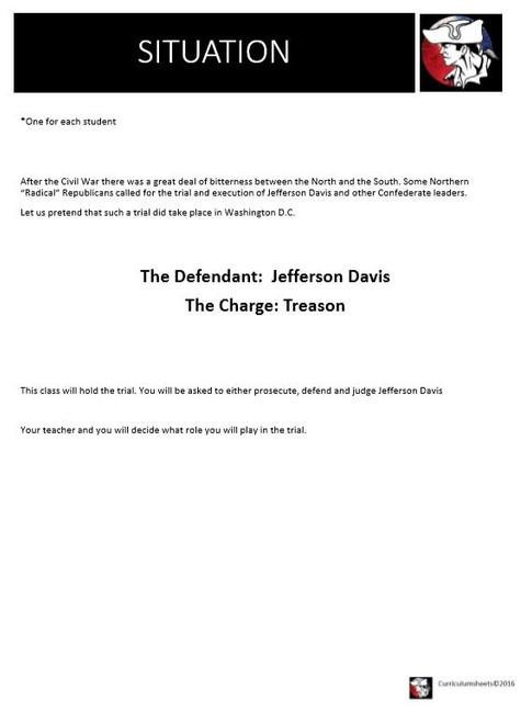 (Civil War) The Trial of Jefferson Davis (Classroom Mock Trial)