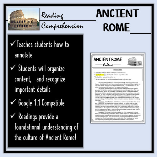 Ancient Rome Reading Comprehension- The Culture of Rome!