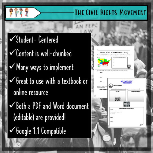 CIVIL RIGHTS MOVEMENT Notes & Research Activity: Distance Learning!