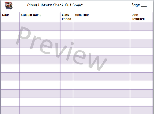 Classroom Library Checkout Sheet (All Grades) & Book Return Label