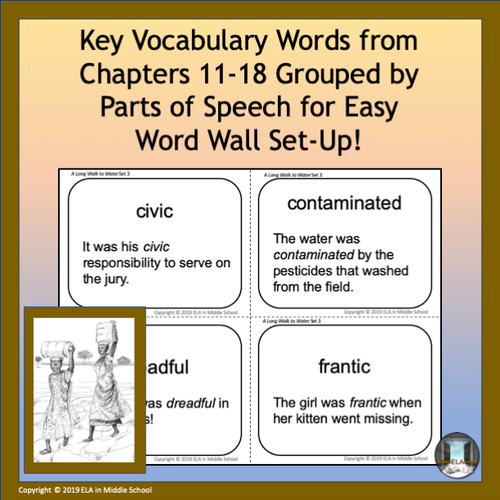A Long Walk to Water Vocabulary Flashcards and Word Wall Set 3