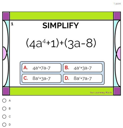 Adding and Subtracing Polynomials: Google Forms Quiz - 30 Problems