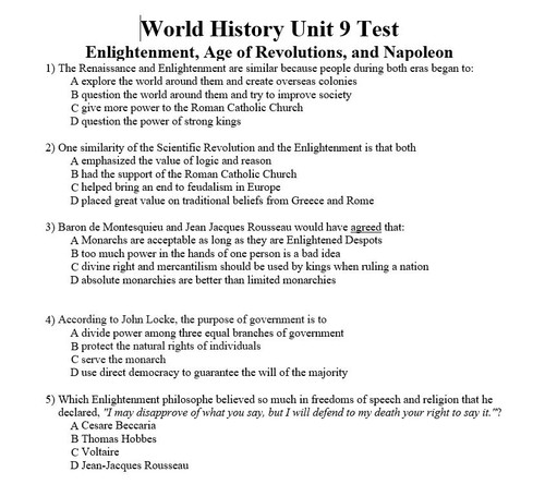 World History Unit 9 Test (Enlightenment, American Rev, French Rev/Napoleon, and Latin American Revolutions