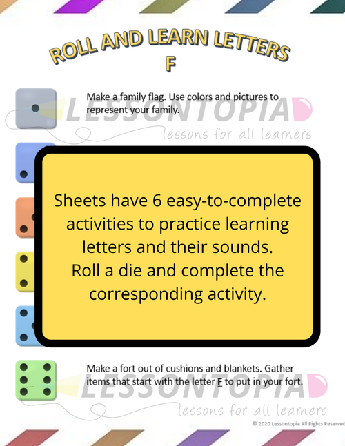 Roll and Learn Letters Activities F-J