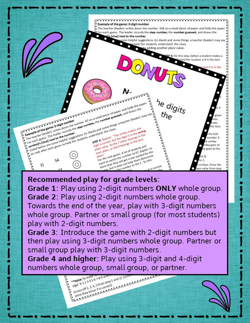 A Place Value and Critical Thinking Math Game - DONUTS