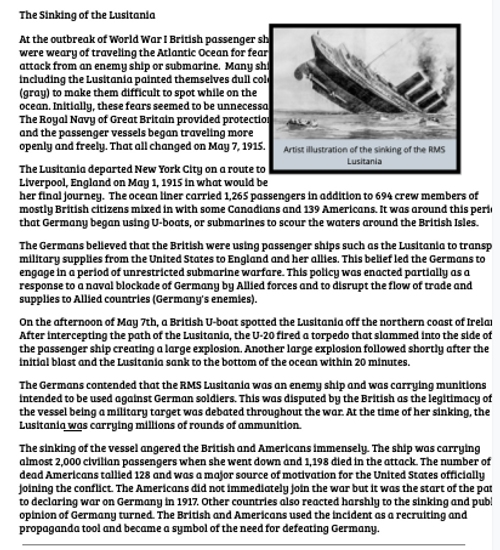 The Sinking of the Lusitania Reading and Worksheet