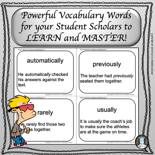Power Words! Vocabulary Building Flashcards and Word Wall Set 7