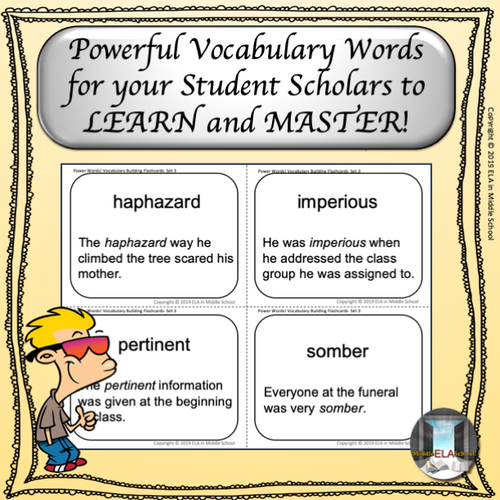Power Words! Vocabulary Building Flashcards and Word Wall Set 3