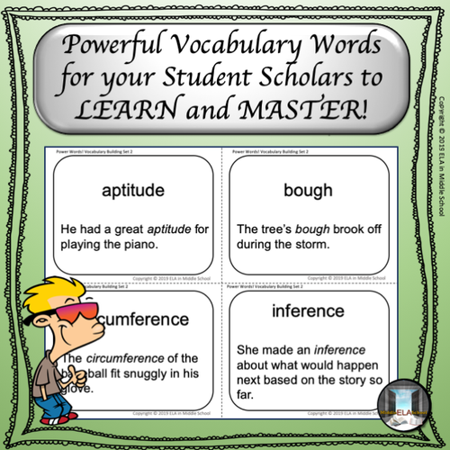 Power Words! Vocabulary Building Flashcards and Word Wall Set 2