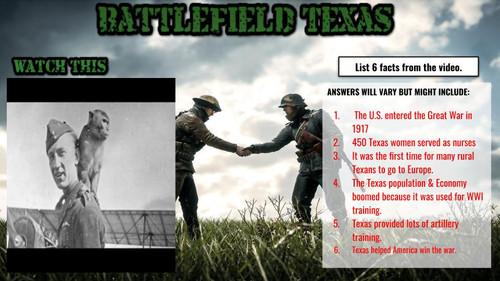 World War One & Texas DIGITAL Interactive Notebook
