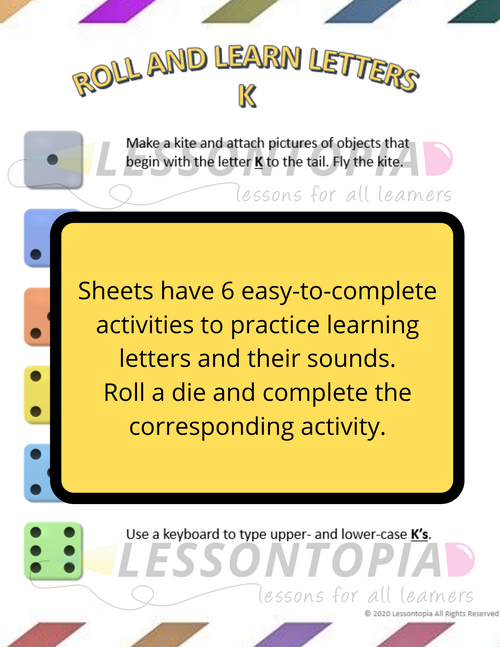 Roll and Learn Letter Activities K-O