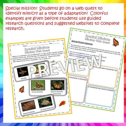 Mimicry Webquest - Google Classroom Version Included!