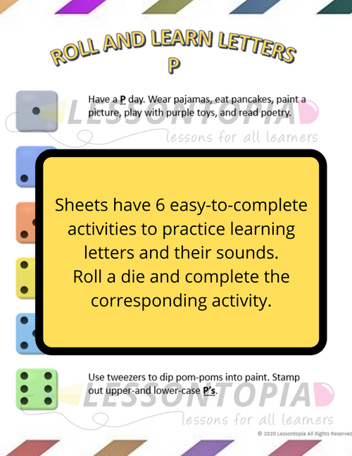 Roll and Learn Letter Activities P-T