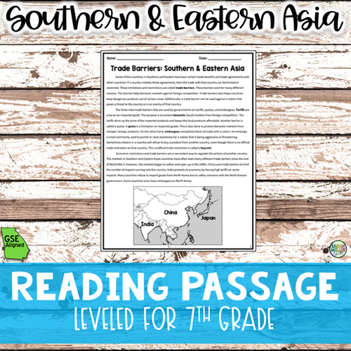 Trade Barriers in Southwest Asia Reading Packet (SS7E5, SS7E5b)