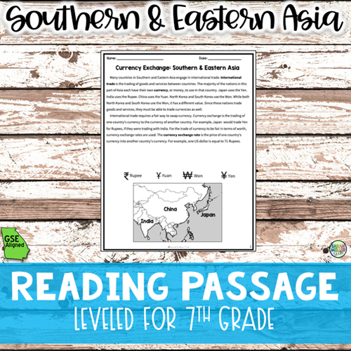 Currency Exchange in Southern & Eastern Asia Reading Packet (SS7E8, SS7E8c)