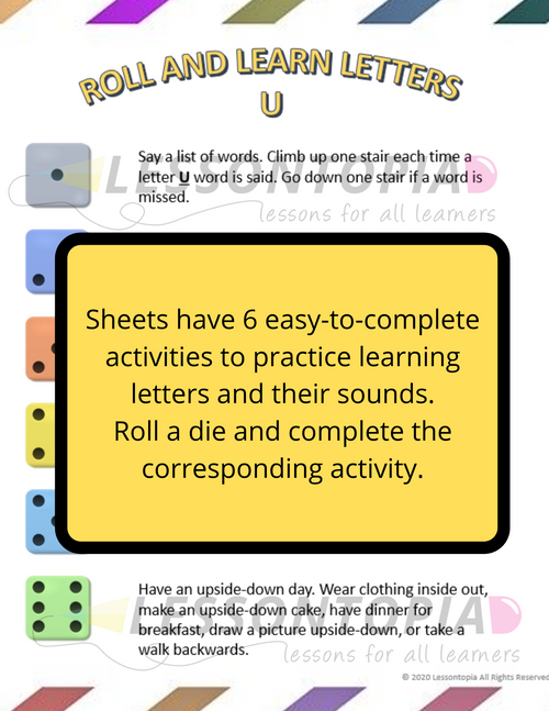 Roll and Learn Letter Activities U-Z
