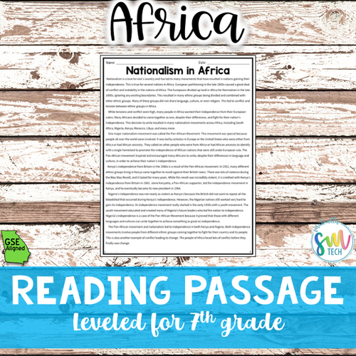 Pan-African & Nationalism Movements in Africa Reading Packet (SS7H1b)