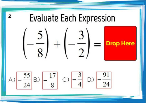 Adding and Subtracting Improper Fractions: Digital BOOM Cards - 20 Problems