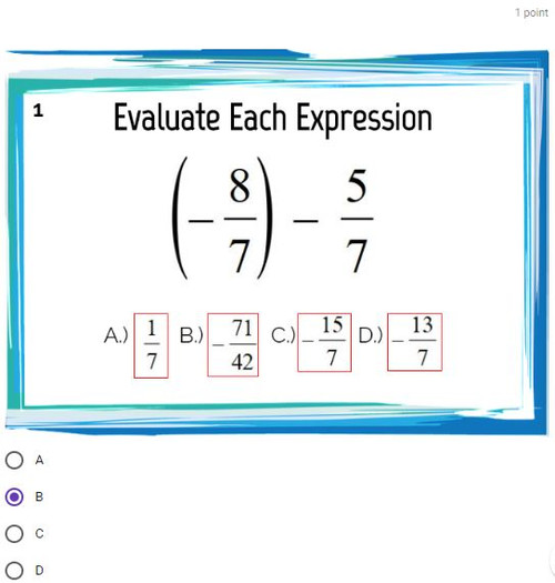 Adding and Subtracting Improper Fractions: GOOGLE Forms Quiz - 20 Problems