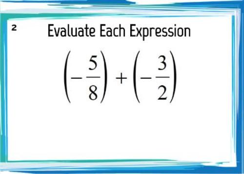 Adding and Subtracting Improper Fractions: GOOGLE Slides - 20 Problems